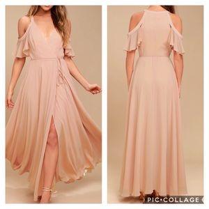 EUC sz 2 rose pink chiffon gown small gorgeous!